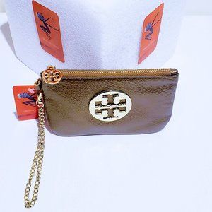 Tory Burch Bags - 🆕Tory Burch Gold Leather & Chain Wristlet💋